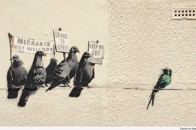 Borran (por error) un mural de Bansky en Inglaterra