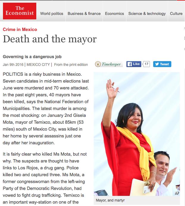 Gobernar, un trabajo peligroso en México: The Economist