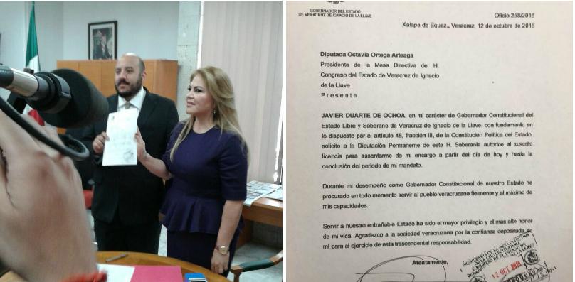 Solicitud de licencia de Duarte llega al Congreso local