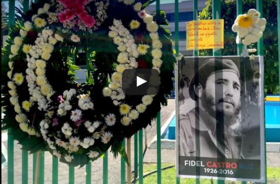 VIDEO | Adiós a Fidel en embajada de Cuba en CDMX
