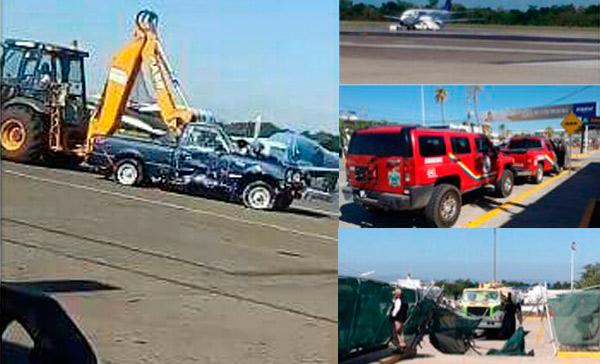 Sujeto impacta pipa en aeropuerto de Vallarta, provoca derrame