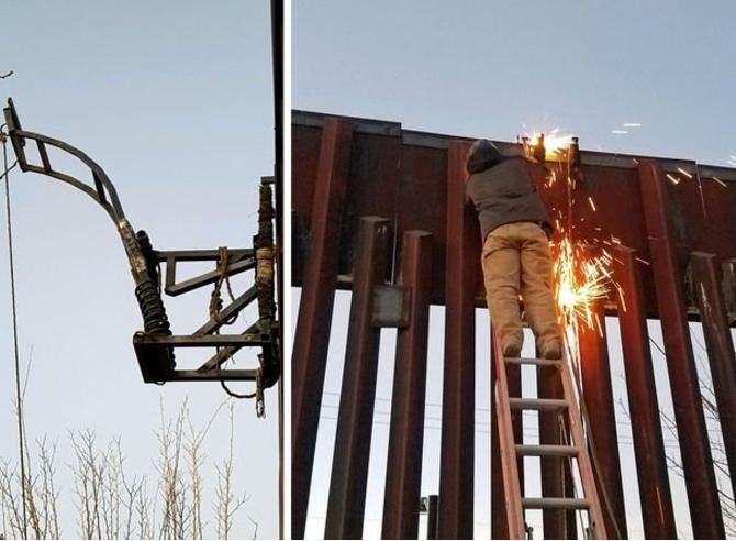 Usan muro para armar catapulta y lanzar droga... en Arizona