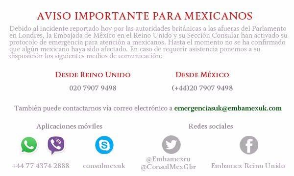 Sin reporte de mexicanos heridos en Londres