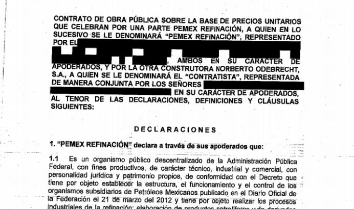 Pemex publica 4 contratos con Odebrecht