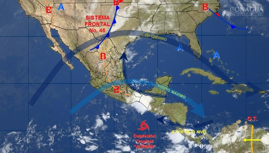 """Se debilita """"Adrián"""" a depresión tropical"""