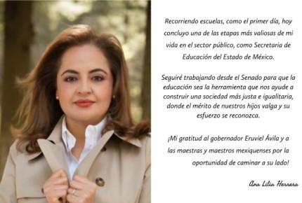 Ana Lilia Herrera renuncia a Educación en Edomex