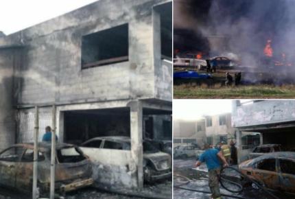 Estalla camión con gasolina ilegal; 10 casas incineradas
