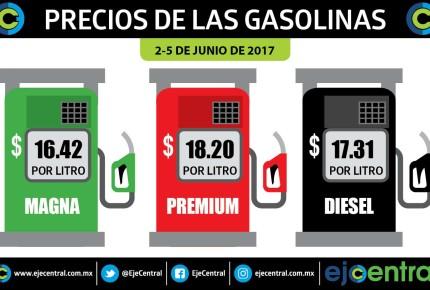 Diésel baja 2 centavos y gasolinas sin cambio, para el fin