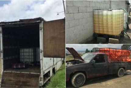 Aseguran 21 camiones y contenedores con combustible en Puebla