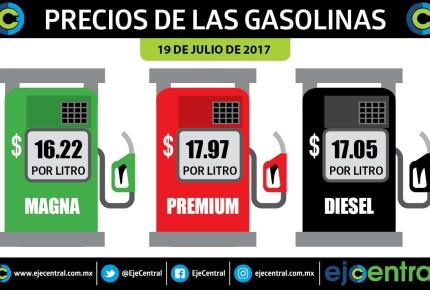 Gasolinas sin cambios, diésel sube 1 centavo