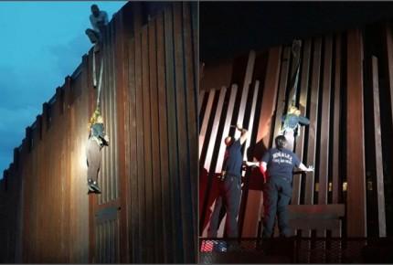 """""""Polleros"""" abandonan a mujer colgada en muro fronterizo"""