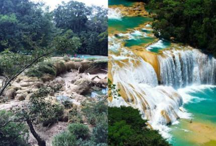 """""""Sequía"""" en cascadas de Agua Azul por colapso en caudal: Conagua"""