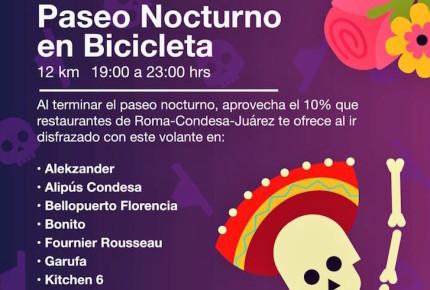 Restaurantes ofrecen descuento después del Paseo Nocturno en Bicicleta