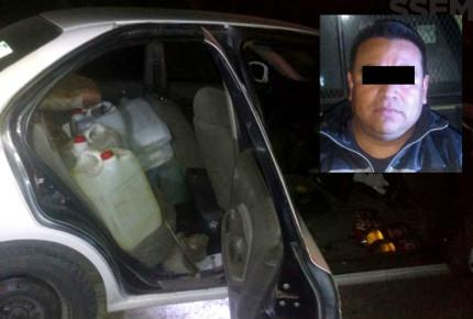 Detienen en Edomex a policía municipal 'huachicolero'