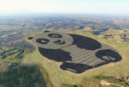 China construye planta solar en forma de Panda