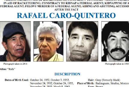Caro Quintero, entre los 10 más buscados del FBI