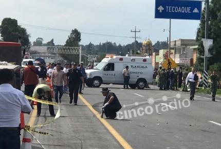Vuelca unidad militar en Tlaxcala; un muerto y 7 heridos