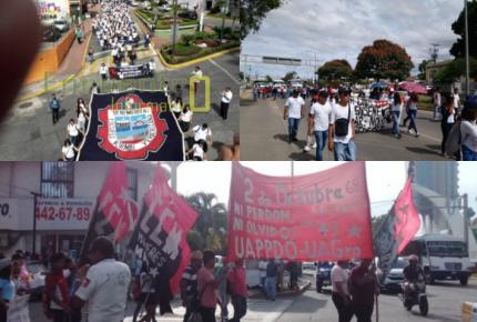 En Guerrero, Veracruz y Oaxaca marchan por 50 años de matanza de Tlatelolco