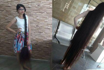 Nilanshi Patel sostiene récord por la cabellera más larga del mundo