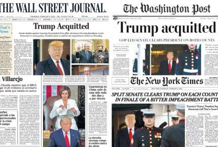 Prensa destaca control republicano del Senado en absolución a Trump