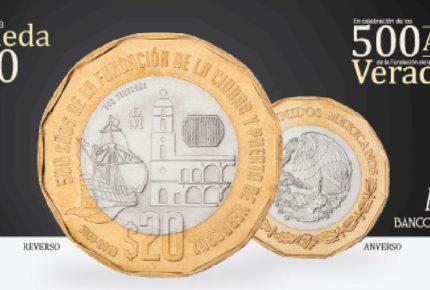 Presenta Banxico nueva moneda de 20 pesos