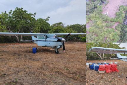 Aseguran aeronave con presunta cocaína en pista clandestina