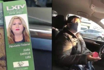 Diputada de Morena saca 'la charola' para evitar el 'Hoy no circula'