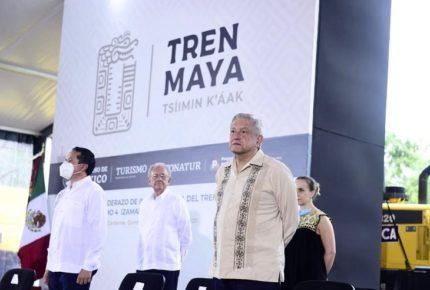 Inaugura AMLO obras de Tren Maya en Quintana Roo