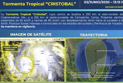 """Se forma Tormenta Tropical """"Cristóbal"""" en el sureste de México"""