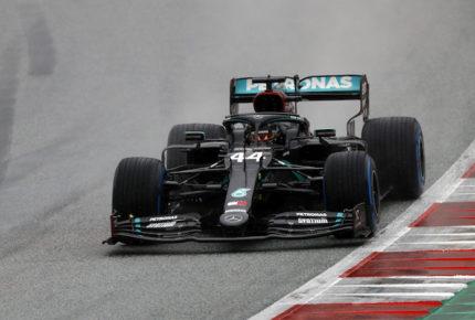 Aun bajo la lluvia, Hamilton logra la pole position en GP de Estiria