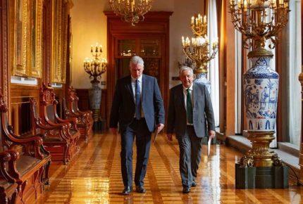 López Obrador y Díaz-Canel se reúnen en Palacio Nacional