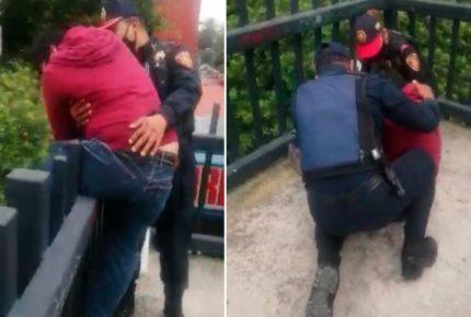 Policías evitaron que joven se arrojara de un puente
