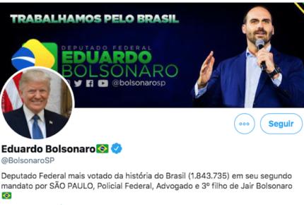 Hijo de Bolsonaro cambia foto de perfil... por una de Trump