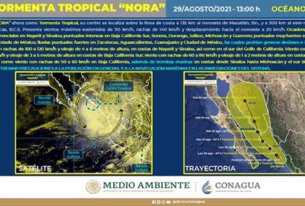 'Nora' se debilita a tormenta tropical en su paso por Sinaloa