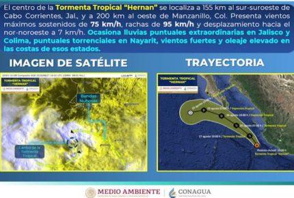 """Tormenta """"Hernán"""" causará lluvias en Nayarit, Jalisco y Colima"""