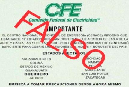 CFE rechaza información sobre supuestos cortes de luz