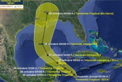 Emiten Alerta Naranja por tormenta 'Zeta' en Caribe mexicano