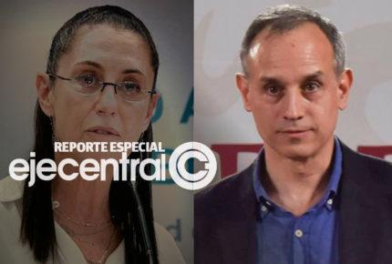 Chocan Sheinbaum y López-Gatell en semáforo