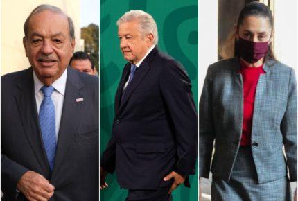 Se reúnen AMLO, Sheinbaum y Slim en Palacio Nacional